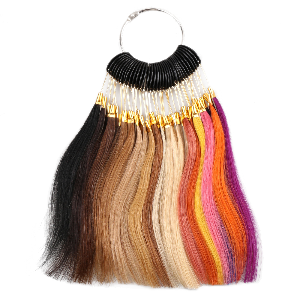 36pcs Human Hair Color Chart For Hair Extensions Color Ring 100% Human Hair Remy Hair