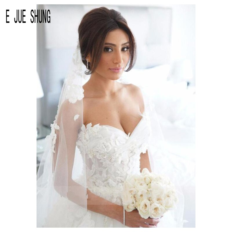 E JUE SHUNG Bride Dresses A Line Wedding Dresses Sweetheart Zipper Back Beaded Lace Appliques Wedding Gowns Vestidos De Novia
