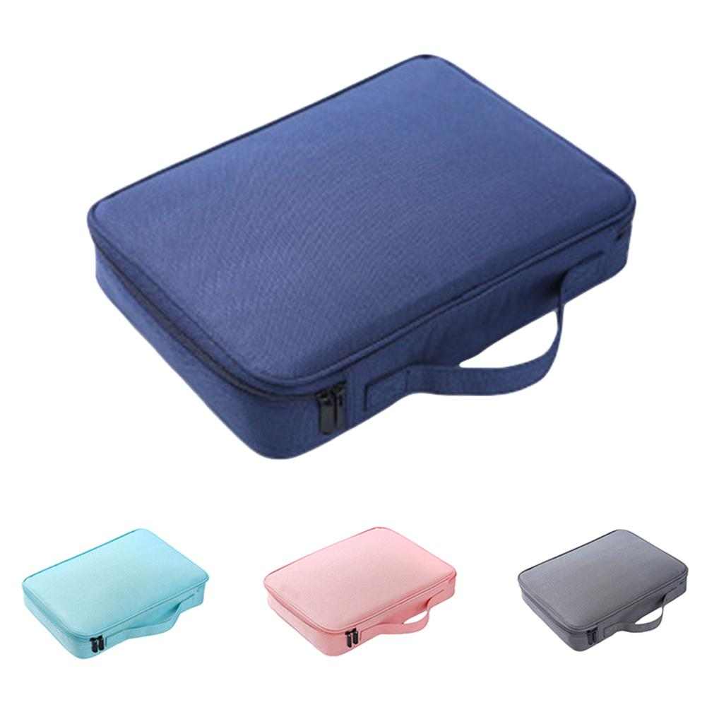 Tool Case Portable Solid Color Oxford Cloth Document Storage Handbag Passport File Suitcase Large Capacity Document Storage Bag