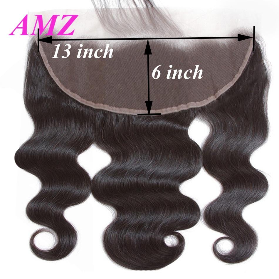 AMZ Body Wave cabello humano brasileño Frontal 13x4 13x6 cierre Frontal de encaje con cabello de bebé cabello Remy cierre Frontal de encaje suizo