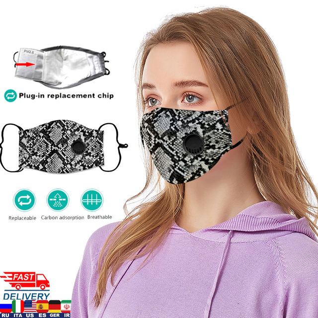 20 Design Washable Face Mask For Woman Man PM2.5 Washable Cotton Mouth Masks Filter Pad Pollution Activated carbon filter 1
