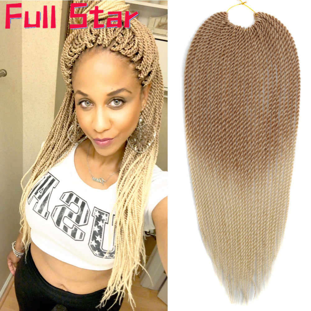 Full Star Senegalese Crochet Twist Braids 30strands/pack 1-7 pack 14 inch 18 inch Blonde Color Ombre Synthetic Braiding Hair