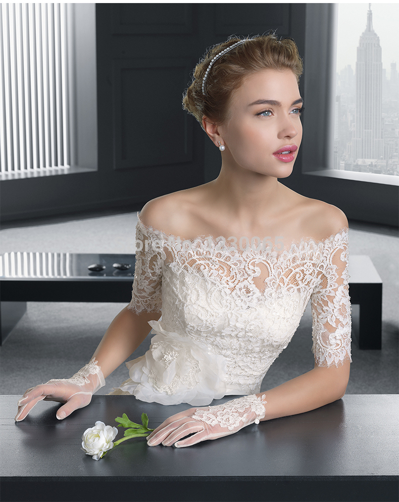 Custom-made Sleeves Sexy Lace Wedding Dress 2016 Free Shipping Vestido De Noiva Casamento Flowers Romantic New Robe De Mariage