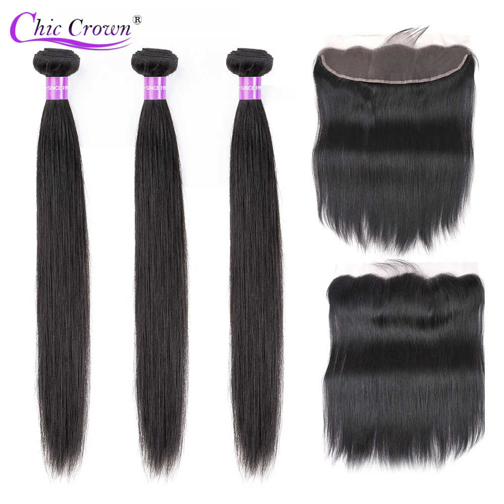 3 Bundles Peruvian Straight Hair Bundles With Frontal Chic Crown Pre Plucked 13*4 Ear To Ear Lace Frontal Closure With Bundles