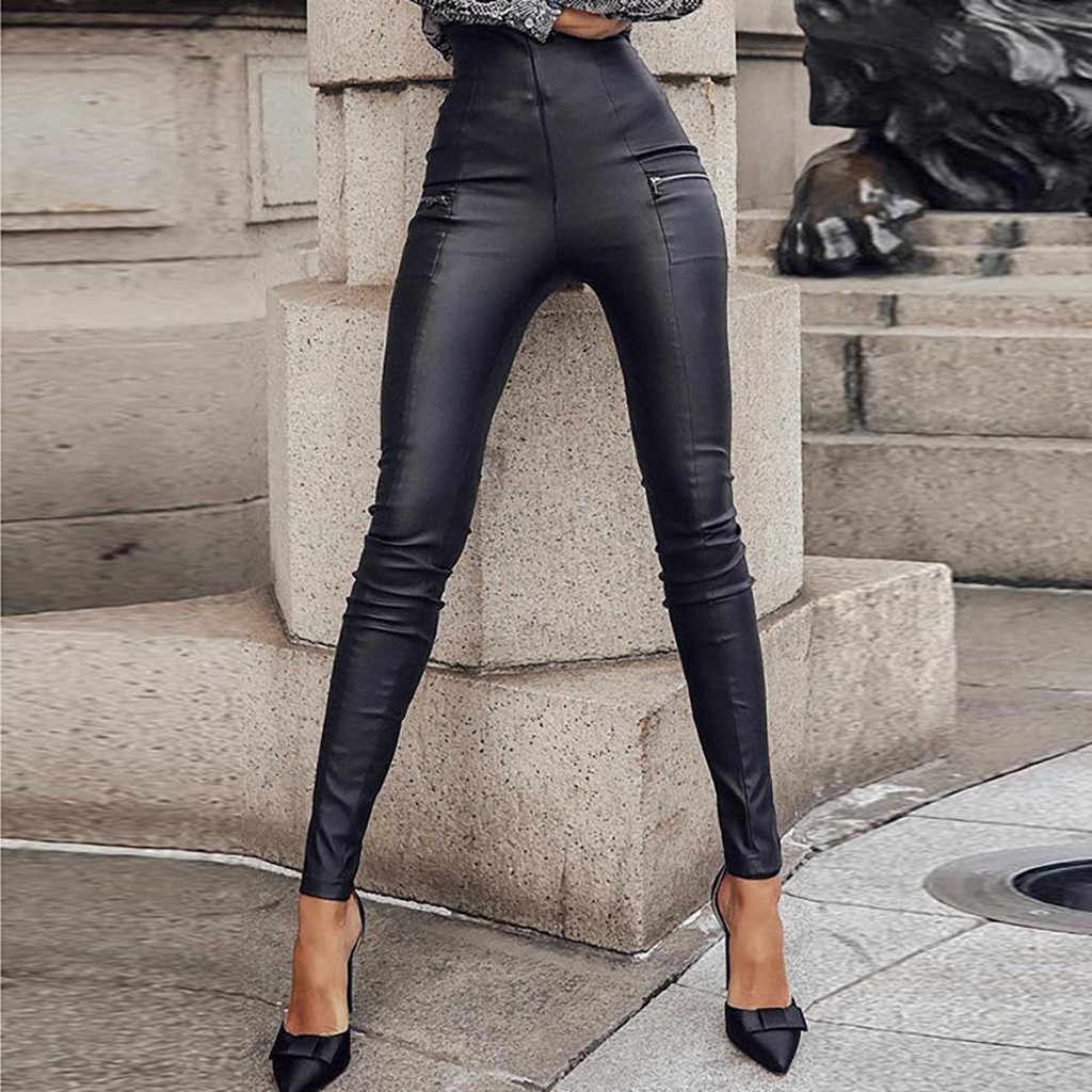 Frauen Leggings Mode Freizeit Zipper Faux Leder Club Party Dünne Glänzende Hosen Hosen Jeggings Leggins mujer S10