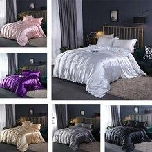 アップグレード 100% サテンシルク寝具セット高級キルト布団カバーと枕ベッドシートセットシングル、ダブルbedclothe絹のようなベッドセット