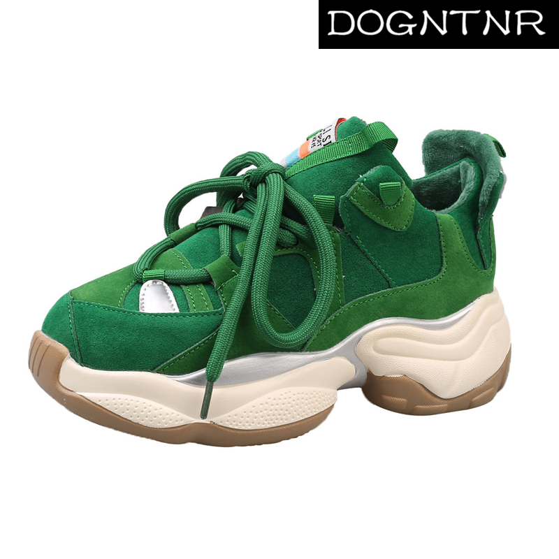 DOGNTNR Fashion Green Ladies Dad Shoes New Simple Women's Running Shoes Single Shoes Lace Thick Bottom Breathable Sports Shoes