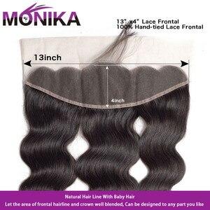 Image 4 - Monika Hair 8 30 inch Brazilian Body Wave Bundles With Frontal Human Hair 3 Bundles with Frontal Non Remy Frontal with Bundles