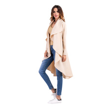 Cardigan Coat Long Trench Coat Women's Trench Coat with Belt Classical Lapel Collar Loose Long Windbreaker Russia Style 2019 New dark grey open front lapel collar trench coat