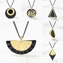 Pendant Necklace Multi-Layer Jewelry Gift Gold Black Women WYBU for Chain Choker Geometric