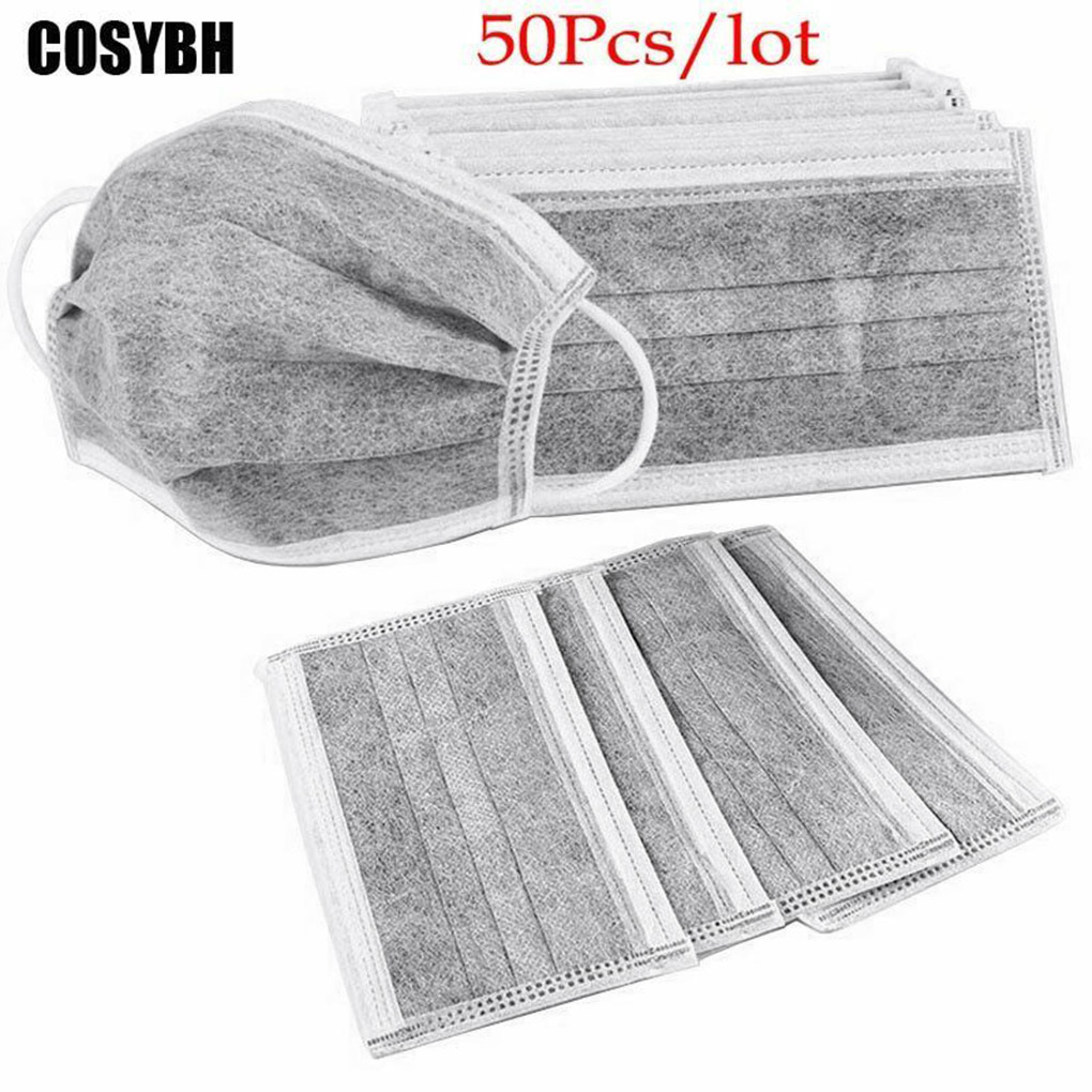 5/10/20/25/50pcs Gray Color 4 Layers Mask Ear Mount Dustproof Mask Activated Carbon Breathable Mouth Mask Anti Dust Haze