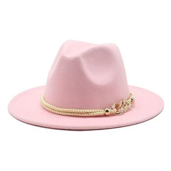Black/white Wide Brim Simple Church Derby Top Hat Panama Solid Felt Fedoras Hat for Men Women artificial wool Blend Jazz Cap 4