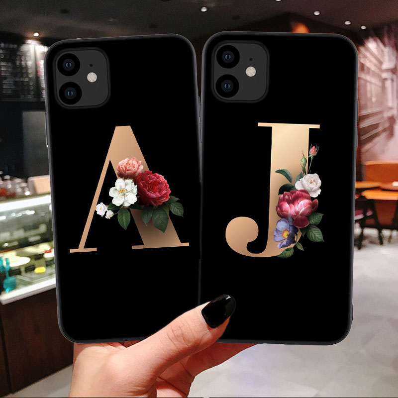 Customized Letter <font><b>Case</b></font> For <font><b>Doogee</b></font> BL12000 N10 Galicia X5 Pro X50 <font><b>X50L</b></font> Y7 Mobile Phone <font><b>Case</b></font> Black Soft TPU Housing Flower Cover image