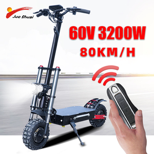 80km/h Adult Electric Scooter with 60V/3200W Strong Power Kick Scooter fat tire big wheel electric scooters foldable Skateboard