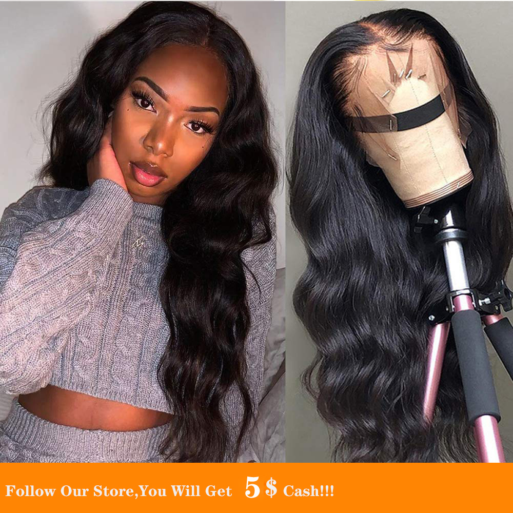 13x4 Synthetic Lace Front Wig Natural Hairline Glueless Soft Long Body Wave Black Temperature Fiber Wig With Baby Hair For Women