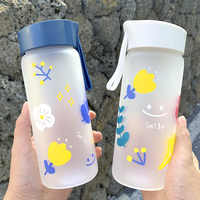 Creative Cartoon Flower Water Bottle Frosted Transparent Borosilicate Heat Resistant Glass with Lifting Rope 400ml Portable Cups