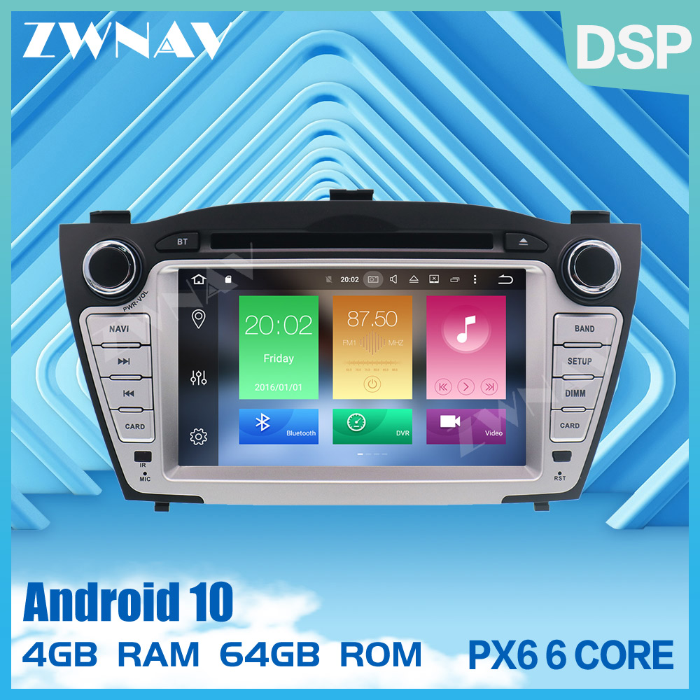 PX6 4+64 Android 9.0 <font><b>Car</b></font> Multimedia Player GPS <font><b>2</b></font> <font><b>Din</b></font> <font><b>For</b></font> <font><b>Hyundai</b></font> IX35 <font><b>TUCSON</b></font> 2009-2015 Canbus Auto <font><b>Radio</b></font> DVD Player BT head unit image