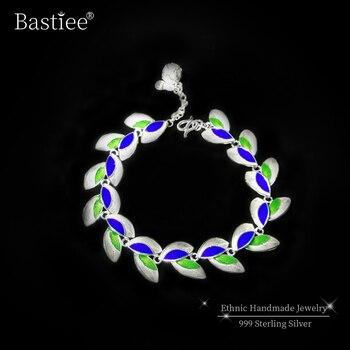 Olive Leaf 999 Sterling Silver Bracelets For Women Cloisonne Enamel Bracelet Femme Luxury Jewelry Green Blue Handmade Ethnic