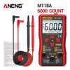 ANENG M118A Digital Mini Multimeter Tester Auto Mmultimetro True Rms Tranistor Meter with NCV Data Hold 6000counts Flashlight 6