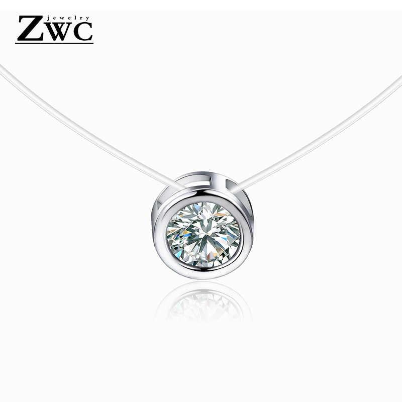 Zwcx 2019 Baru Fashion Sederhana Crystal Pendant Kalung untuk Wanita dengan Harga Murah Line Transparan Memancing Leher Perhiasan Grosir Kalung