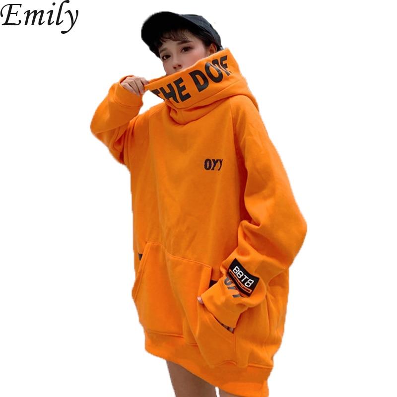 Hip Hop Hoodie Women Orange Hoodie Sweatshirt Oversized Solid Female Ulzzang Japanese Hoodies Autumn Loose Hoodie Streetwear