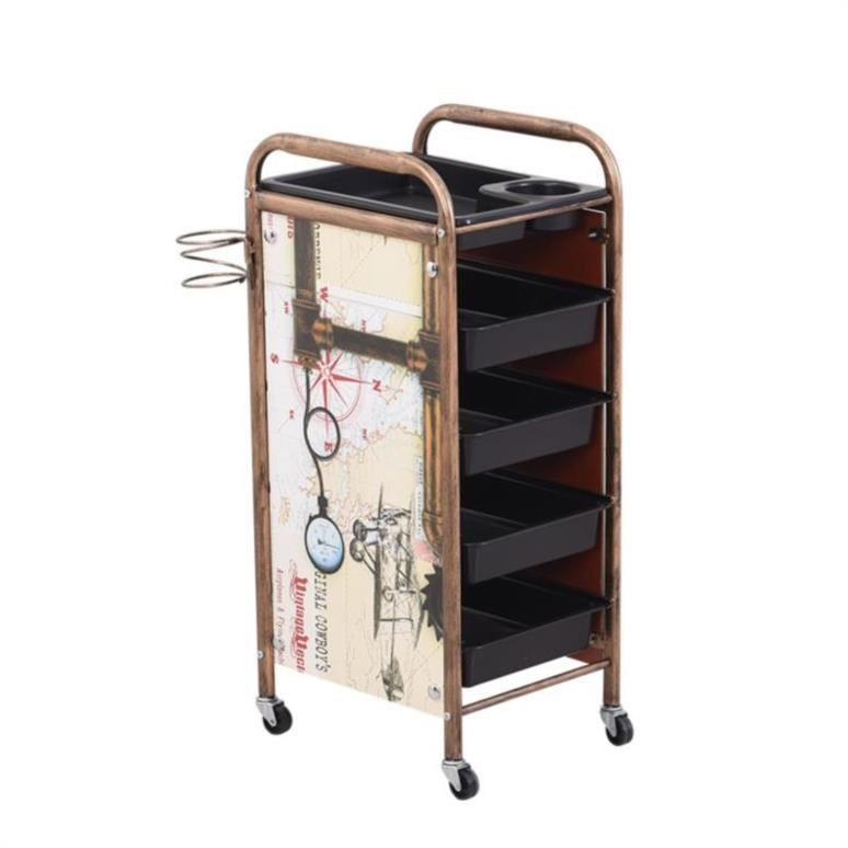 New Retro Hairdresser Beauty Stroller Barber Shop Hot Dyeing Tool Car Hair Salon Trolley Bar Specials