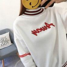 Women Sweatshirts 2019 Autumn Korean Style Ulzzang Harajuku Letter Printed Turtleneck Hoody Sweatshirt Female Top