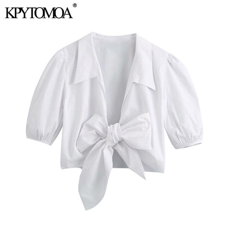 KPYTOMOA Women 2020 Sweet Fashion With Bow Cropped Blouses Vintage V Neck Puff Sleeves Female Shirts Blusas Chic Tops