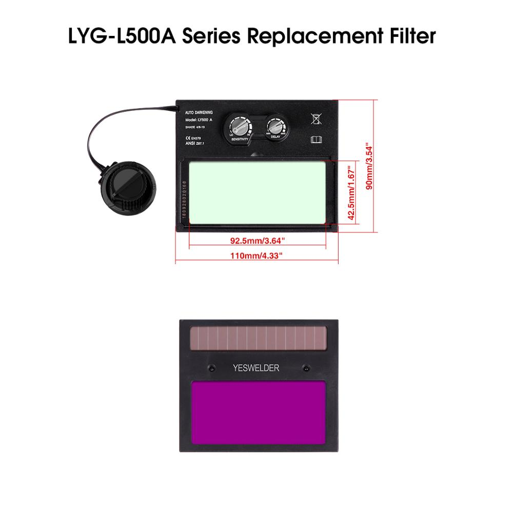 YESWELDER Solar Auto Darkening Filter Replaceable ADF For Welding Helmet/Welding Mask Of LYG-L500A Series