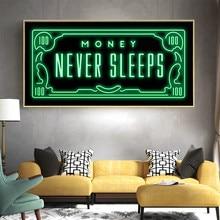 Preto verde flash dinheiro nunca dorme moderno padrão de ouro citações cartaz da lona pintura da parede arte da lona para decoração casa