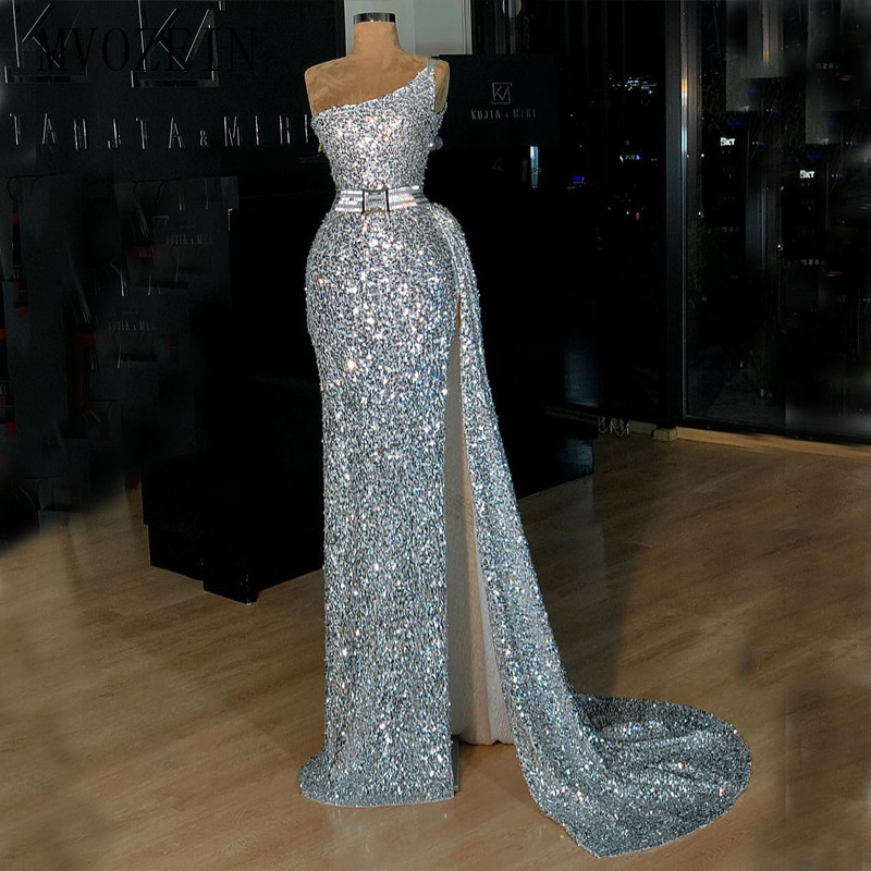 Silver Evening Dresses Long Sequin One-Shoulder A-Line High Split Floor Length Evening Dress Formal Gowns Prom Party Dresses