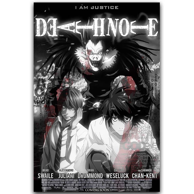 Death Note Poster Popular Classic Anime L And Night God Home Decoration Poster Print Wall Decoration