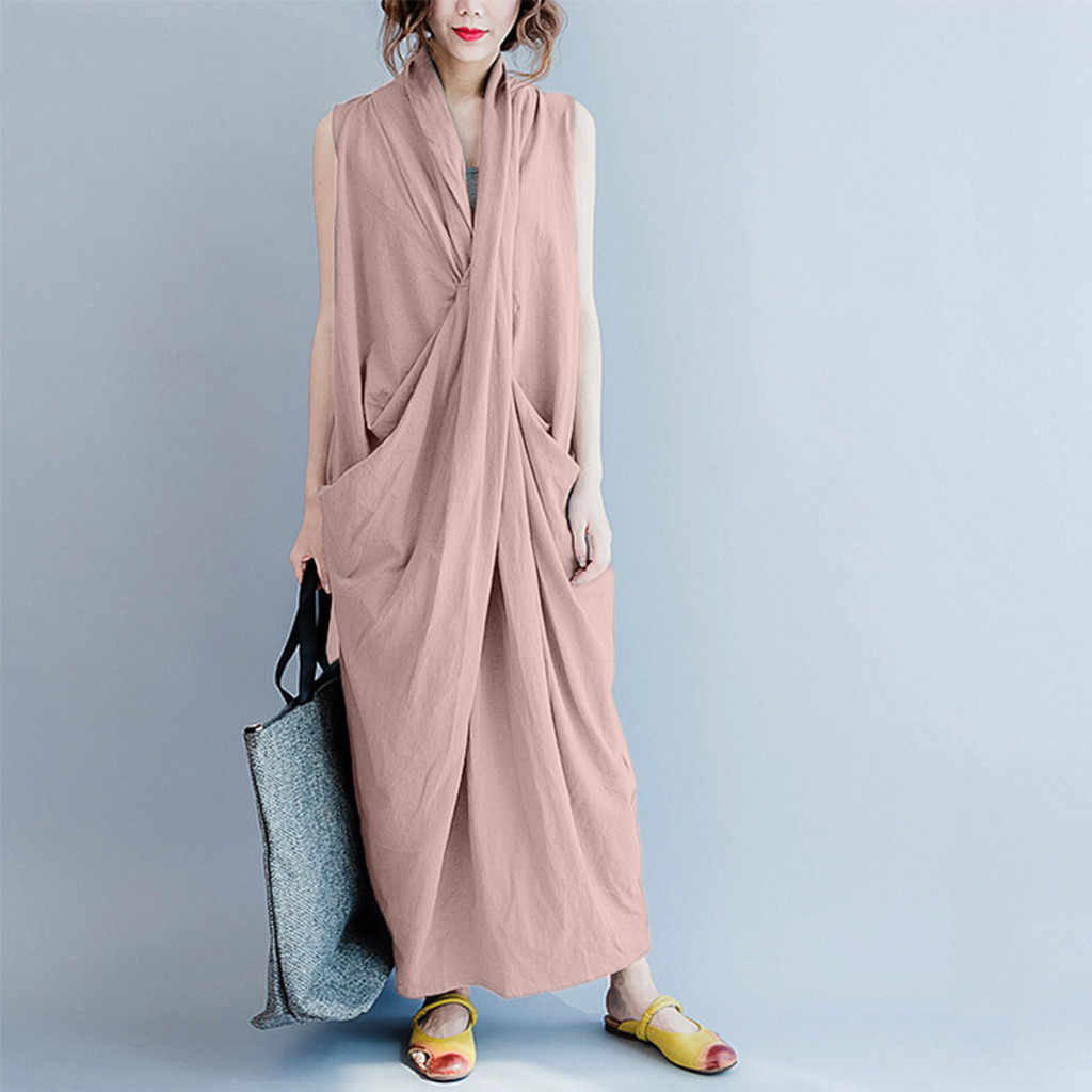 Estilo Popular Mulheres Vestido de Vestes das Mulheres de Roupas de Moda de Algodão Sem Mangas Profunda V Pescoço Solto Irregular Vestido de vestidos de festa