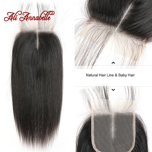 Image 2 - ALI ANNABELLE HAIR Brazilian Straight Lace Closure Middle Part Medium Brown Swiss Lace 4x4 Brazilian Remy Hair Lace Closure