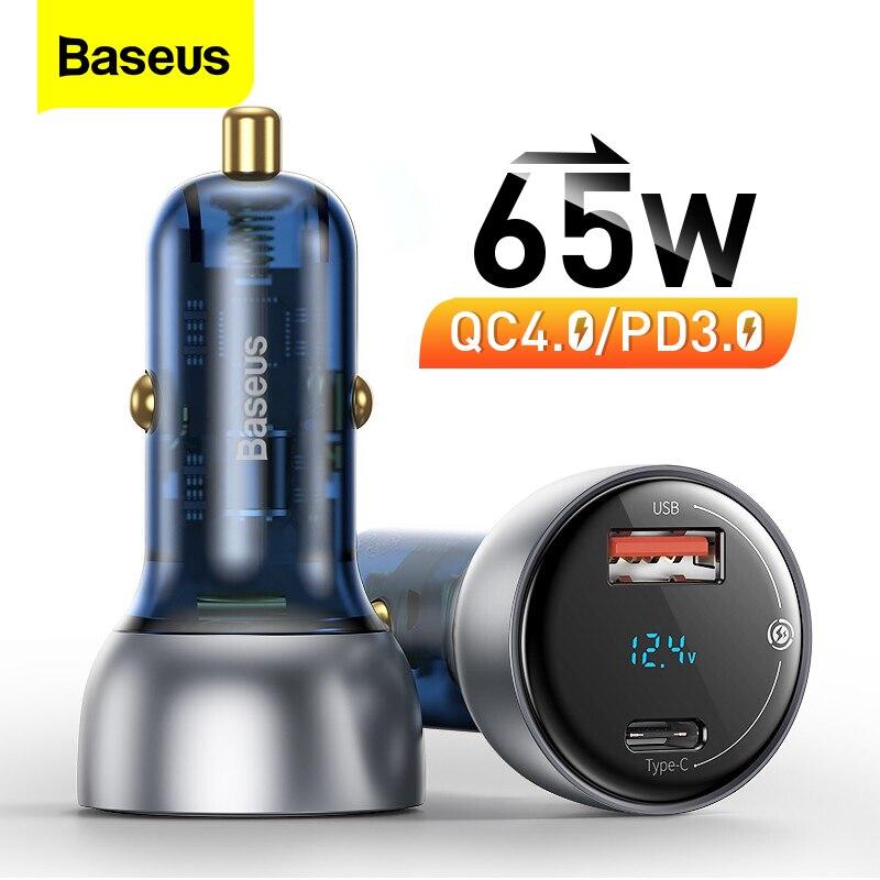 Baseus carregador de carro pd 65w carregamento rápido carga rápida 4.0 qc3.0 usb tipo c carregador para iphone 12 11 xiaomi samsung macbook portátil