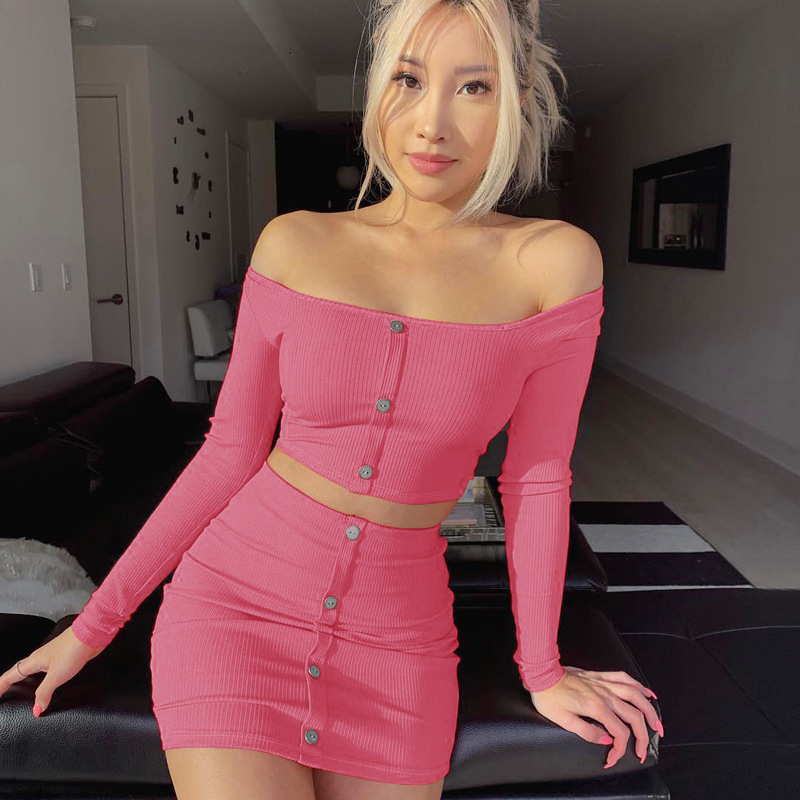 2020 Sexy Off Shoulder Two Piece Set Solid Button Body Crop Top  2 Piece Set Women Long Sleeve Top And Skirt Summer Autumn Sets