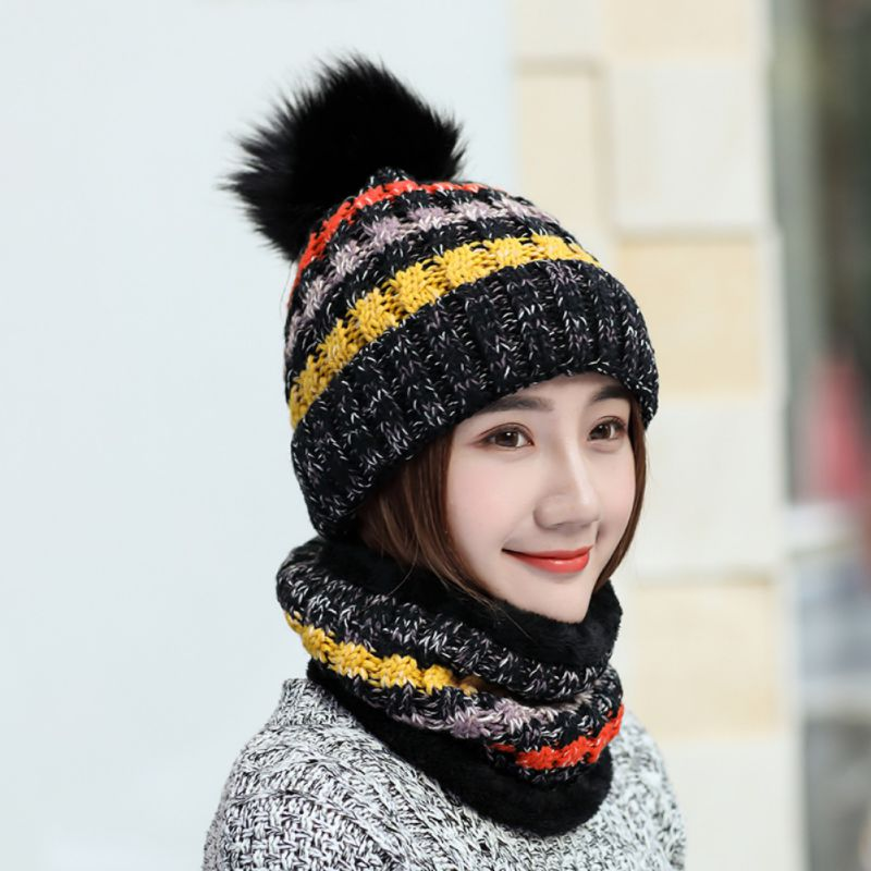 Winter Knitted Hats Stylish Soft Stretchy Ski Face Mask Cold Weather Thick Beanie Hats Scarf Sets