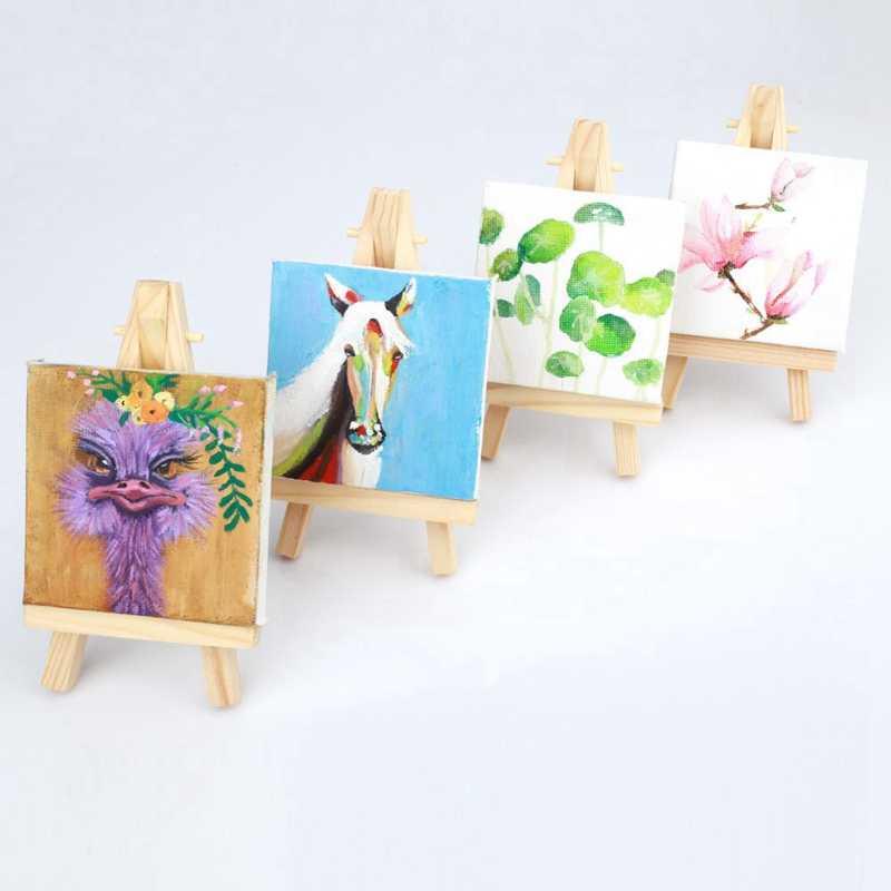 10 zestawów Mini ekspozycja sztaluga z płótnem 8X8Cm numery stolików weselnych malarstwo Hobby obraz rzemiosło Diy rysunek mały stół sztalugi G