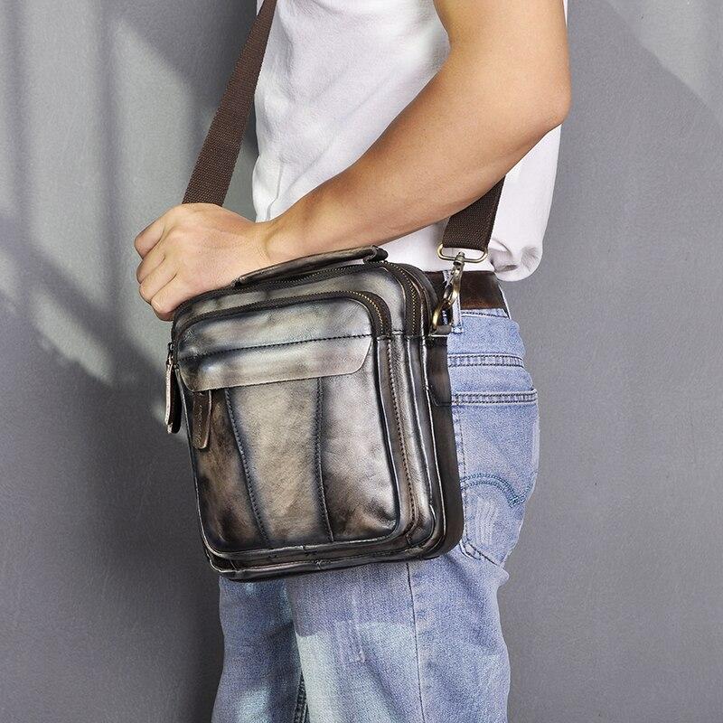 Qualidade de couro masculino design casual bolsa