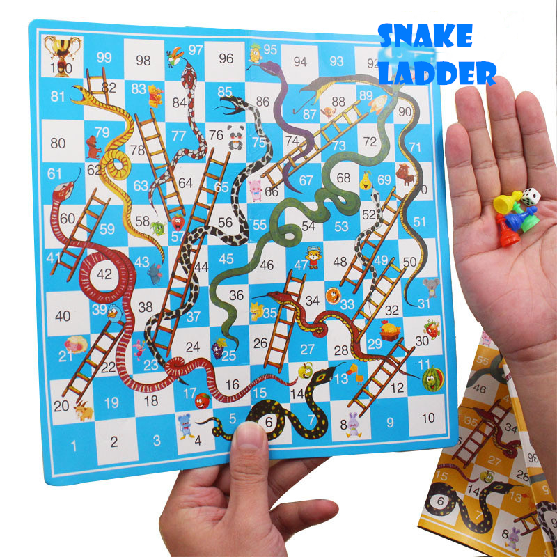 25cm Portable Paper Snake Ladder Flight Chess Set Board Game Children Funny Family Party Games Toys For Kids