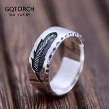 Real Pure 925 Sterling Silver Rings For Women And Men 7mm Feather Ring Polished Simple Smooth Vintage Punk Jewelry Couple Love