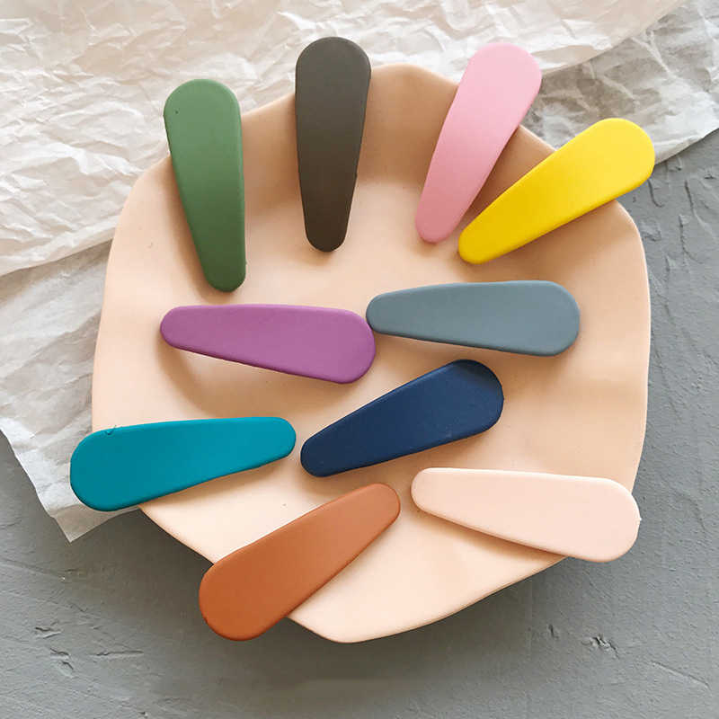 1 adet şeker renk mat saç klipleri Waterdrop tokalarım kızlar tokalar renkli Hairgrips çocuk saç aksesuarları yeni varış