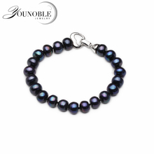 100% Real Natural Black Pearl Bracelet Women,Button Round Freshwater Anniversary Gift