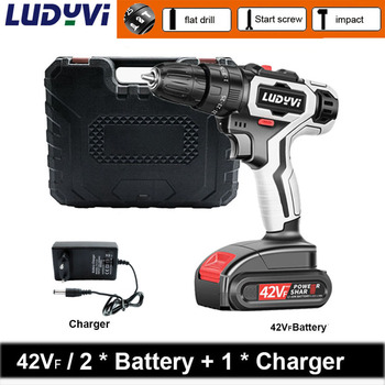 New 42Vf electric Screwdriver 2-Speed cordless drill power tools professional electric torque screwdriver Impact electric drill