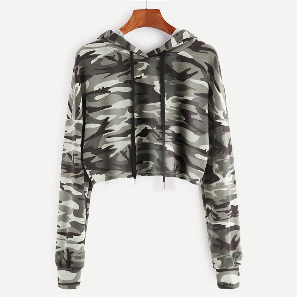 Drawstring Drop Shoulder Camouflage Print Crop Hoodie Women Casual Autumn Hooded Long Sleeve Clothing Pullovers Sweatshirt #YL10