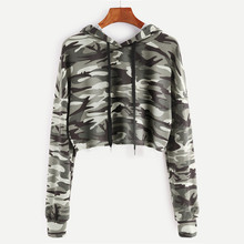 Drawstring Drop Shoulder Camouflage Print Crop Hoodie Women Casual Autumn Hooded Long Sleeve Clothing Pullovers Sweatshirt #YL10 animal print drop shoulder sweatshirt