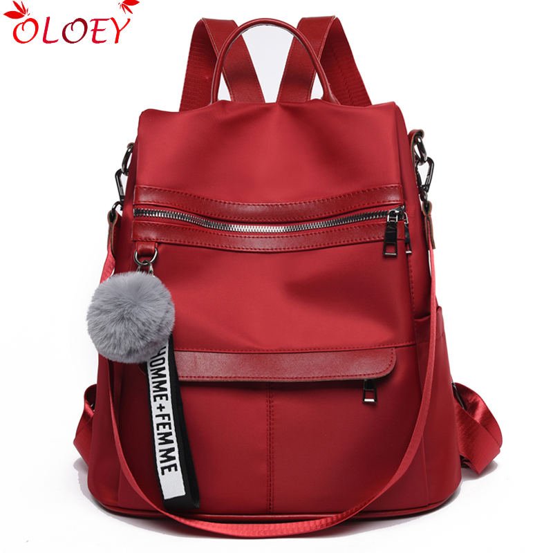2020  New Quality Backpack Waterproof Anti-theft Oxford Cloth Simple College Wind Bag Youth Girl Backpack Gift Hair Ball Pendant