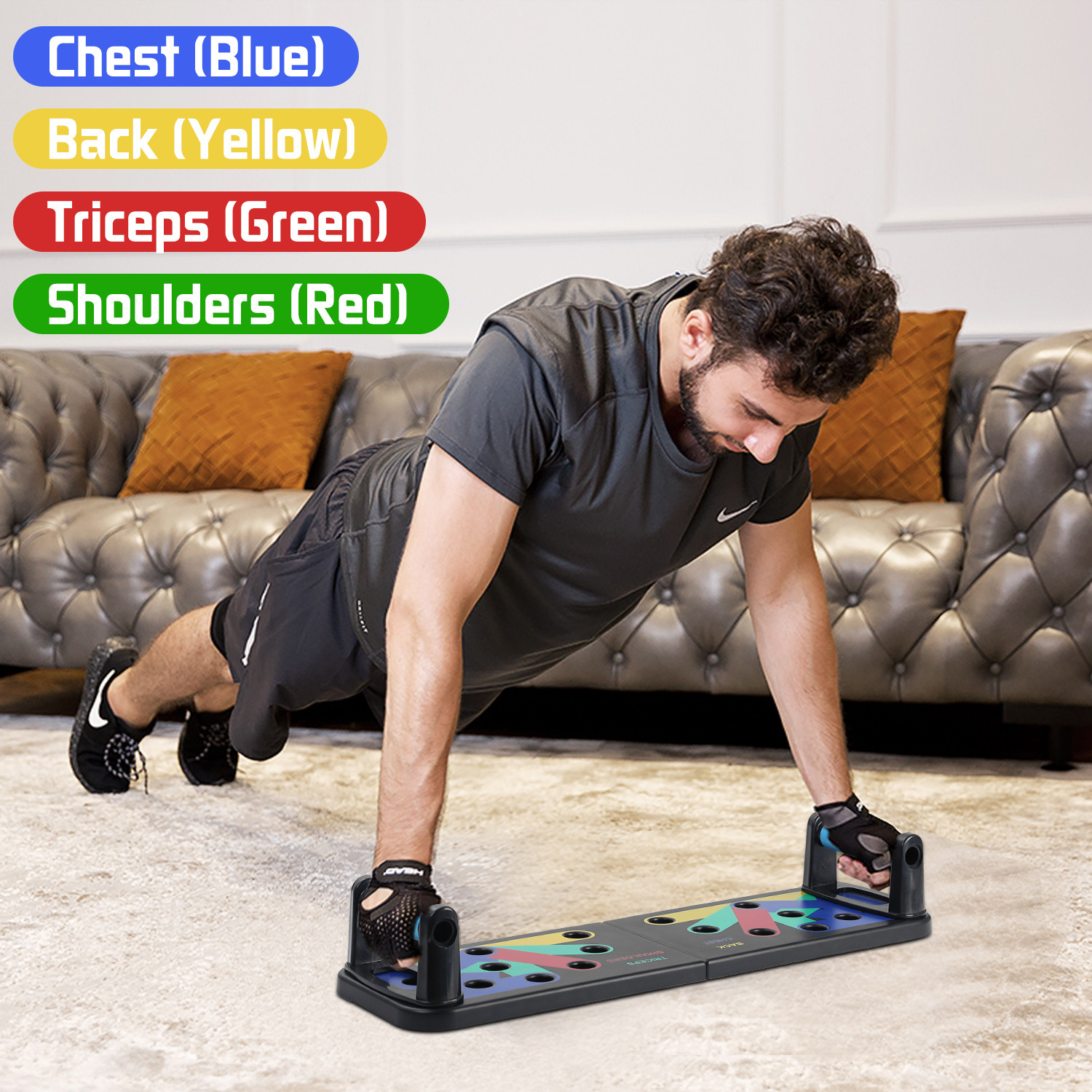 Strength Board Muscle Board Push Up Plate Home Fitness Equipment Body Building Exercise Tools for Men and Women KUNBIO Push Up Board