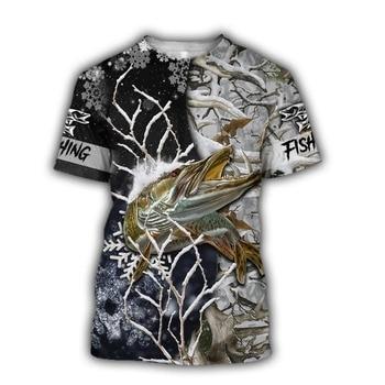 Pike winter camo Fishing T Shirt All Over Print