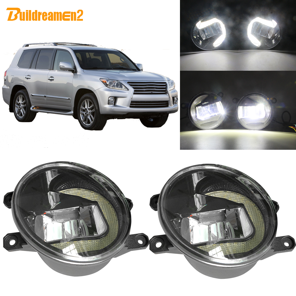 Buildreamen2 For <font><b>Lexus</b></font> <font><b>LX570</b></font> 2008 2009 2010 2011 Car LED <font><b>Fog</b></font> <font><b>Light</b></font> + Daytime Running <font><b>Light</b></font> DRL White 3000LM 12V Accessories image